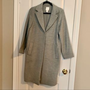 H&M wool blend long length car coat in grey